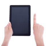 Hands using tablet computer with blank screen isolated on white Royalty Free Stock Image