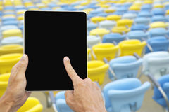 Hands Using Tablet Football Stadium Stock Images