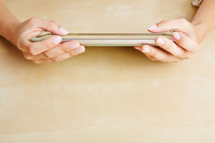 Hands using a tablet PC Royalty Free Stock Photo
