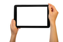 Hands using tablet pc Stock Photo