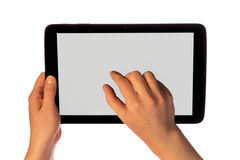 Hands using tablet pc Stock Image