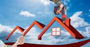 Free Hands Using Tools On House Frame Against Sky Stock Photos - 91272573