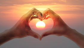 Hands in Valentine's heart Royalty Free Stock Photo
