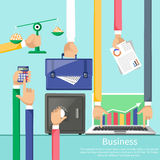 Hands with various business elements. Such as safe, scales with coins, briefcase, calculator and laptop with stock graph. Flat icon modern design style concept Stock Photo