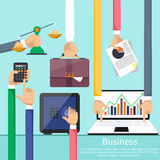 Hands with various business elements Royalty Free Stock Photos