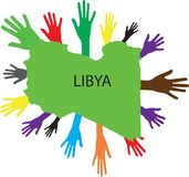 Hands of various colors and map of Libya Stock Image
