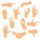 Hands in various gestures. Flat design modern vector. Hands in various gestures. Flat design modern vector illustration concept Royalty Free Stock Photography