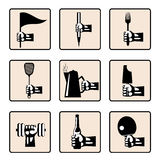 Hands with various household items. Set hands with various household items. Retro styled  icons Stock Photo