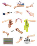 Hands with various objects Royalty Free Stock Photography