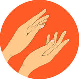 Hands, vector illustration. Applause. On an orange background Stock Images