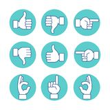 Hands icon set. Hands vector illustration thin line art icons set. Hand gesture line icon set in modern geometric style. Hands, finger, fist, direction, like, ok Stock Photos