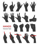 Hands vector set. Vector hands silhouette in various figures on white background Stock Image
