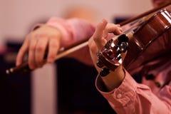 Hands violinist closeup Stock Photos