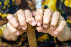 Hands  on walking canes Royalty Free Stock Photo