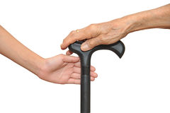 Hands On Walking Stick Royalty Free Stock Photos