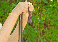 Hands on walking stick Stock Photos