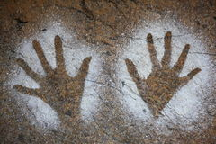 Hands on wall aborigine art Royalty Free Stock Image
