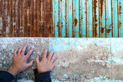 Hands on the wall. (holding against the wall Stock Photography