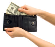 Hands with wallet Stock Photos