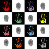 Hands. Wallpaper with hand prints and fingerprints Stock Photography
