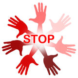 Hands Warning Represents Red Disapproval And Refusal Royalty Free Stock Images