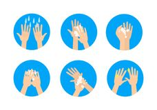 Hands washing instruction. Hands washing medical instruction. Washing dirty palms with soap in the bathroom. Flat vector illustration stock illustration