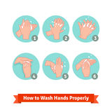 Hands washing medical instructions Stock Photo