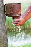 Hands washing outdoors Royalty Free Stock Photos