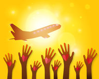 Hands waving airplane on a sunset Royalty Free Stock Photos