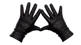 Free Hands Wearing Black Leather Gloves Making A Diamond Or Kite Frame Between Thumb And Index Finger With Fingers Splayed, Palms Down. Royalty Free Stock Images - 181395839