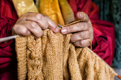 Hands by weaving Stock Images