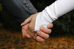 Hands after wedding stock image