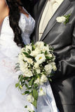 Hands and wedding bouquet Royalty Free Stock Photos