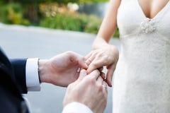 Hands of wedding couple Stock Photo