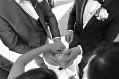 Hands at a wedding royalty free stock photos
