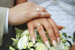 Hands with wedding rings. 2 hands with wedding rings on flowers Royalty Free Stock Photos