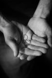 Hands and wedding rings. Black and white view of two wedding rings on hands of couple Royalty Free Stock Images