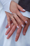 Hands with wedding rings. Close-up of hands with wedding rings stock photos