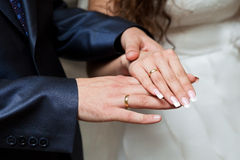 Hands with wedding rings Royalty Free Stock Photo