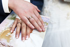 Hands with wedding rings Royalty Free Stock Photos