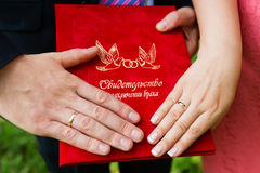 Hands with wedding rings on certificate of marriage. Royalty Free Stock Photo