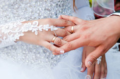 Hands with wedding rings gold Royalty Free Stock Photos