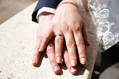Hands with wedding rings Royalty Free Stock Image