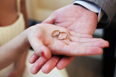 Hands with wedding rings Stock Photography