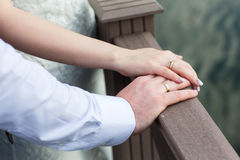 Hands with wedding rings Stock Photo