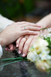 Hands with wedding rings newlyweds Stock Images