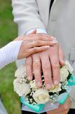 Hands with wedding rings and wedding bouquet Stock Photos