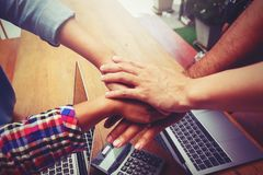 Hands were a collaboration concept of teamwork. And trust Royalty Free Stock Photography