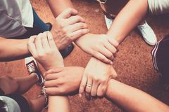 Hands were a collaboration concept of teamwork. And trust Royalty Free Stock Images