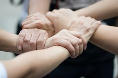 Hands were a collaboration concept of teamwork. And trust Stock Photography